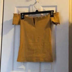 Aeropostale Yellow Off the shoulder Shirt